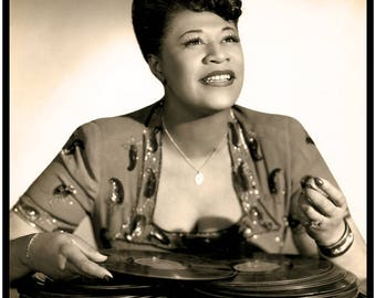 ELLA FITZGERALD  --- The Queen of Jazz --- Amazing Studio Promo Portrait By Bruno Of Hollywood With 78RPM Records Aplenty