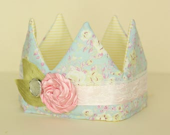Light Blue and Pink Floral Fabric Crown with Pink flower trim
