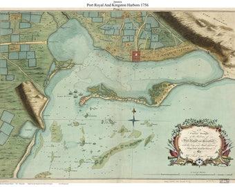 Port Royal and Kingston Harbors 1756 Map - AmRev 126 Reprint