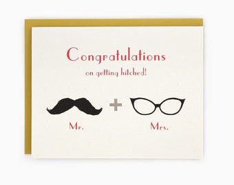 Congratulations on getting hitched - mustache & glasses - mr. and mrs. - hipster greeting card / WED-HITCHED