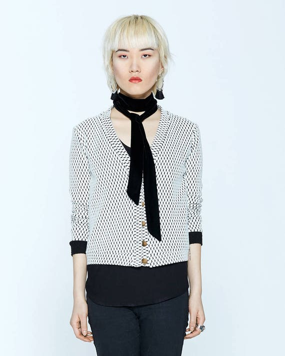 JASPER - long sleeves buttoned cardigan, blazer, vest, cover-up for womens - ivory white with black triangles