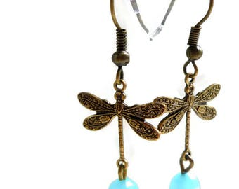 Brass dragonfly earrings, vintage inspired earrings, downton abbey earrings, antique victorian earrings, boho chic vintage earrings
