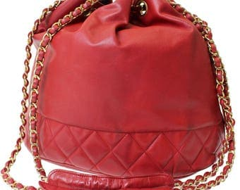 Authentic CHANEL CC Quilted Leather Golden Chain Shoulder Bucket Bag