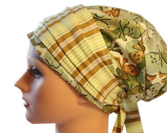 Scrub Hat Cap Chemo Bad Hair Day Hat  European BOHO Banded Pixie Tie Back Camo Skulls Striped Band 2nd Item Ships FREE