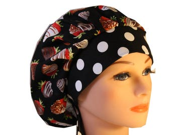 Scrub Cap Surgical Hat Chef   Dentist Hat Tie Back Bouffant Chocolate Covered Strawberries Sweets 2nd Item Ships FREE