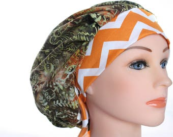 Scrub Cap Surgical Hat Chef Dentist Hat Tie Back Bouffant Green Batik Orange Chevron 2nd Item Ships FREE