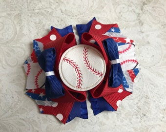 Red, White, and Blue Baseball Bow