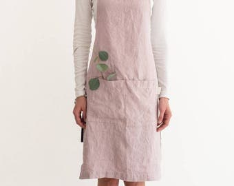 Pink Lavender Stone Washed Linen Apron
