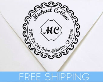 Monogram Custom Return Address Stamp - Self Inking. Personalized rubber stamp with lines of text
