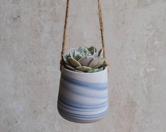 Blue Hanging Planter, Succulent Planter, Ceramic Planter, Indoor planter, Outdoor Planter, Home Decor, DIY, Marbled, Agate, no plant (SP222)