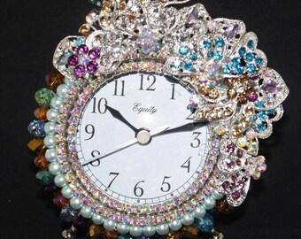 "Multi Color Crystal Bead & Rhinestone with Pearls Alarm Clock ""CRYSTAL GARDEN IV"""