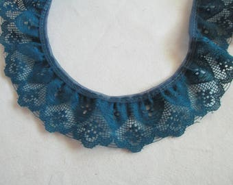"Dark  blue ruffled lace 4 yards 26 inches 1 1/2"" wide for crafts and sewing"