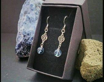 Fluorite gemstone spiral earrings