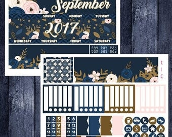 Weekend Sale September Floral Monthly Stickers for 2017-2018 Recollections Planner