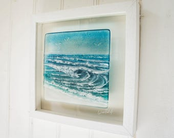 Rolling Wave in a Box-FREE UK SHIPPING-Blue/Turquoise Seaside Glass Framed Picture D2-fused glass wall art