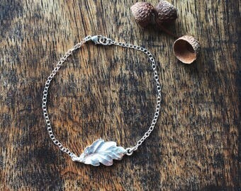 Sterling silver oak leaf bracelet
