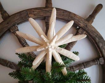 Natural 4 Starfish Tree Topper - Beach Decor - Nautical Decor - Christmas Tree Topper With 4 White Pencil Starfish