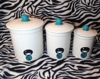 Set of 3 Kitchen Canisters Kokeshi Doll Turquoise Blue Storage Containers Ceramic Pottery Japanese Girl Geisha Chinese