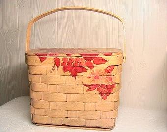 Basket, Lined Basket, Vintage Handled Basket, Wooden Handled Basket