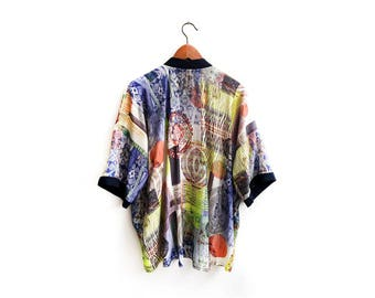 Neon Kimono Jacket, Short Coverup, Chic Summer Kimono, Bohemian Cardigan, Bright Print Kimono, Summer Clothing, Unique Bohemian Style