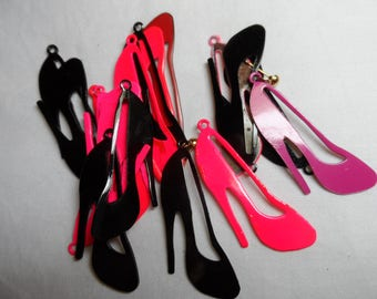 "Enameled pink/black high heeled shoe 1&3/4""charms,19pcs-KC524"
