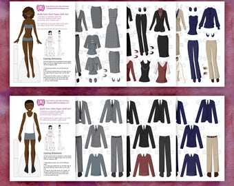 Professional Paper Doll Wardrobe - Two Paper Doll Set Instant Download