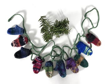 Knitted Mitten Garland, Multi Colored Miniature Mitten Bunting, Hand Knit Mini Mitts on a String, Mitten Christmas Ornament, Tree Garland