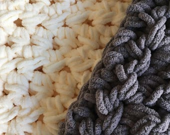 Chunky Throw Blanket with fringe, cozy large crochet blanket