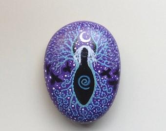 Crone/Dark Goddess hand painted beach pebble.