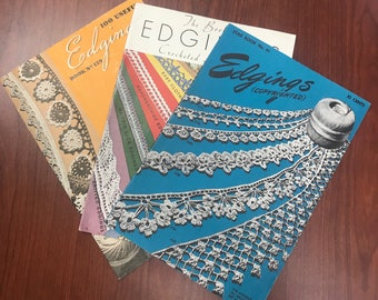 3 Vintage Edgings Magazines for Crocheting and Knitting - Shipping Included