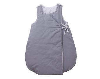 Sleeping bag - Grey cotton printed with white mini polka dots in Pebble gray