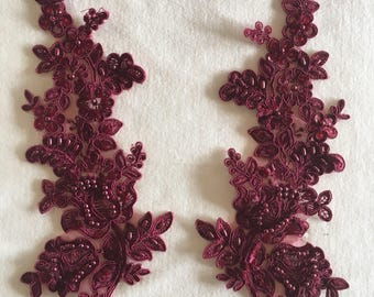 Wine Beaded Appliques, Beaded Applique Lace Pair, for Lyrical Dance, Ballroom Dance, Costumes, Bridal, Headbands, Sashes