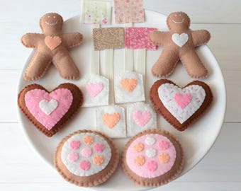 Tea for Two Felt Tea Set - Play Food Tea bag Biscuit Sugar Cookie & Gingerbread Felt Food Play Set, Sweet Tea Party, Gift for Girls