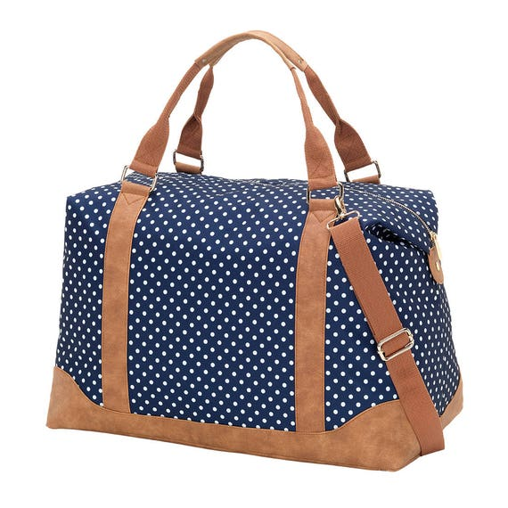 Charlie dot navy dot  Weekender luggage tote bag weekender bag monogram weekender bag duffel bag monogram bag womens luggage