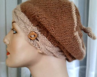 Hand-knit all-natural brown alpaca tam with ginger cabled button band   alpaca beret in 2 shades brown   light weight tam   luxury alpaca