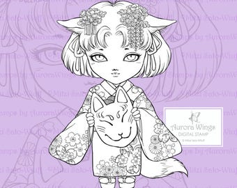 PNG Digital Stamp - Little Kitsune Anko Fancy Version - Japanese Kimono Fox Girl  - Fantasy Line Art for Cards & Crafts by Mitzi Sato-Wiuff