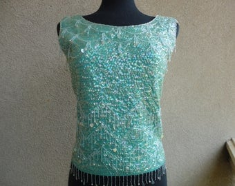 Imperial Imports Beaded & Sequined Top