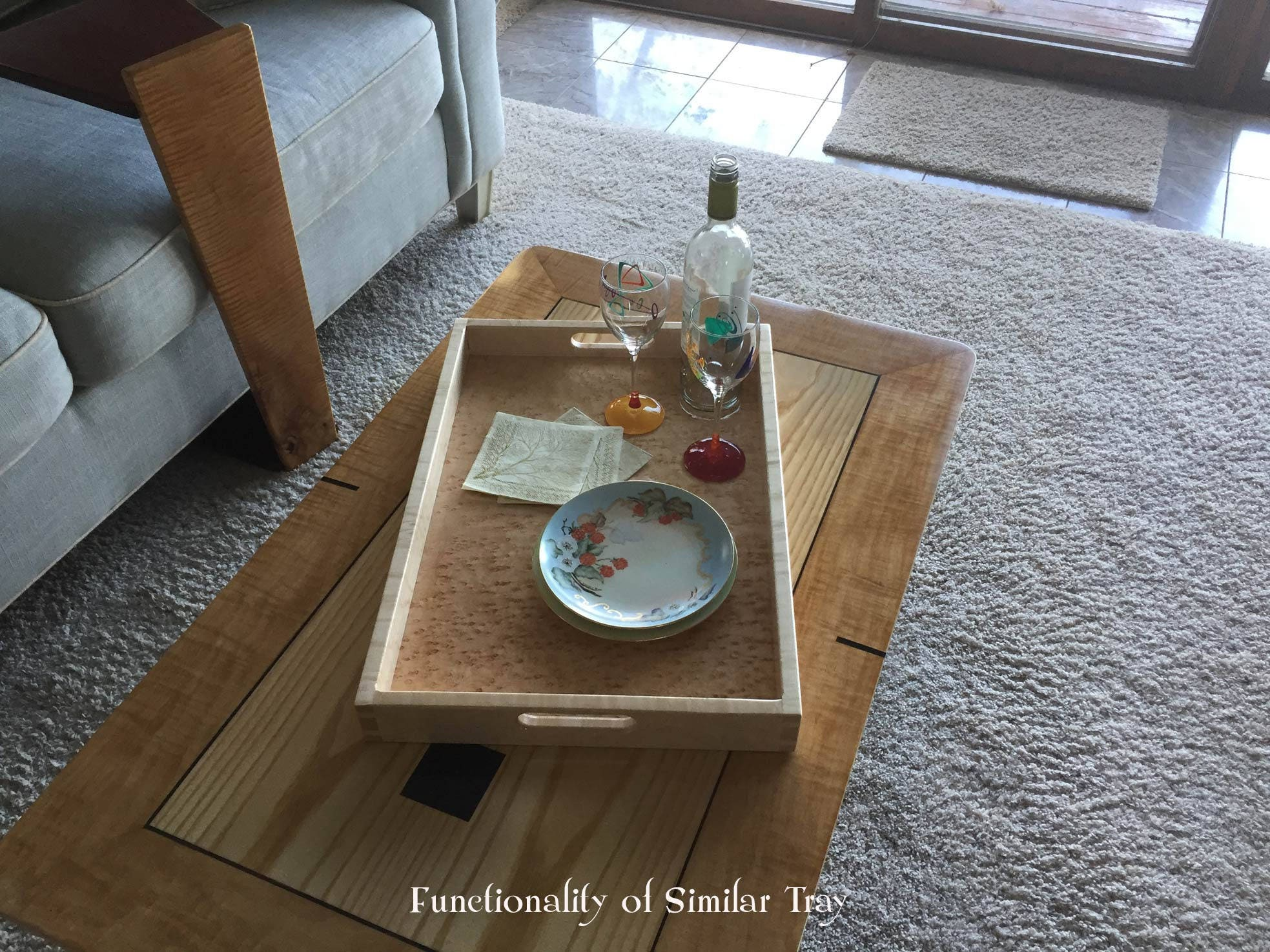 Wood Serving Tray Curly & Fiddleback Maple