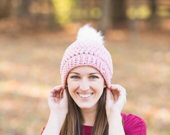 Crochet beanie - pom pom beanie - faux fur pom beanie - fall beanie - winter beanie - womens hat - beanie - crochet pom beanie