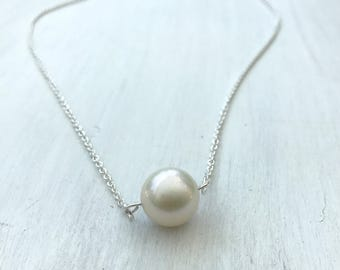 Single pearl necklace - minimalist jewelry, bridal jewelry - single pearl - freshwater pearl - bridesmaid jewelry - mother in law gift
