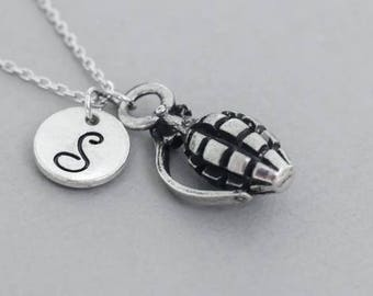 Silver Grenade necklace - hand grenade fashion jewelry - Silver Necklace - sterling silver necklace