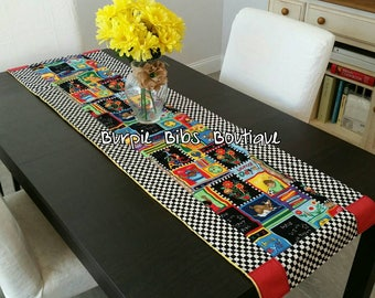 Back To School Table Runner, Quilted Table Runner, Patch Table Cover, Patchwork Coffee Table Cover, BTS Table Runner, School Home Decor