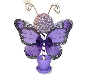 Customizable Butterfly Lollipop Topiary, Butterfly Candy Centerpiece, Baby Shower Decor, Sweet Sixteen Candy, Quinceanera Candy Buffet Decor