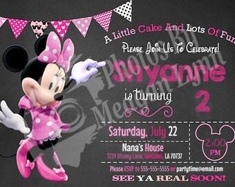 Minnie Mouse Chalkboard Birthday Invitation *DIGITAL*
