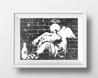 Banksy art Print, street art and  graffit art