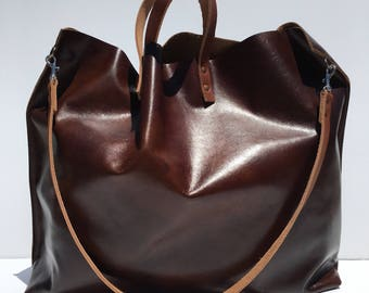 SALE! XL Dark Brown Leather Gym, Travel, Yoga, ETC. Carry All Tote
