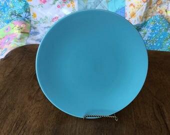 "Single solid turquoise salad plate, 8"""