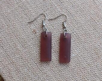 Sea Glass Dangle Earrings, Brown Sea Glass Earrings, Brown Sea Glass, Sea Glass Earrings, Handmade Earrings, Handmade sea glass earrings