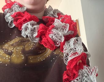 Scarlet and Gray Ruffle Fashion Scarf
