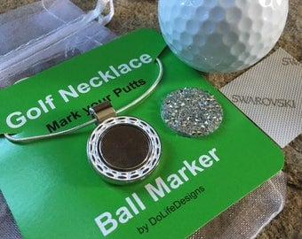 Swarovski Golf Ball Marker and a Necklace - Clear Sparkling Ballmarker - Golfing Jewelry Beauty  'on & off' the Course!  New Spring 2018